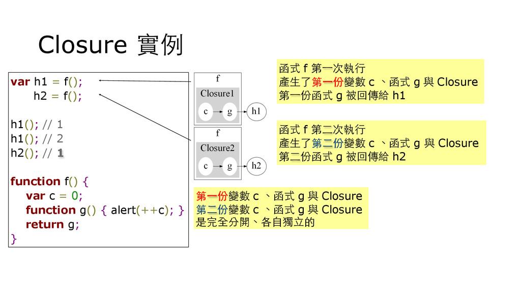 Closure 實例 var h1 = f(); h2 = f(); h1(); // 1 h...