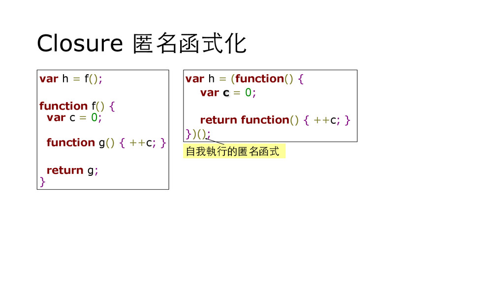Closure 匿名函式化 var h = f(); function f() { var c...