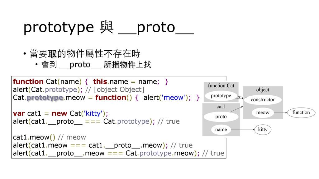 prototype 與 __proto__ • 當要取的物件屬性不存在時 • 會到 __pro...