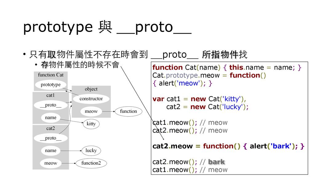 prototype 與 __proto__ • 只有取物件屬性不存在時會到 __proto__...