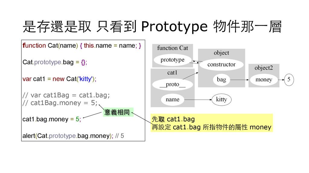 是存還是取 只看到 Prototype 物件那⼀一層 function Cat(name) {...