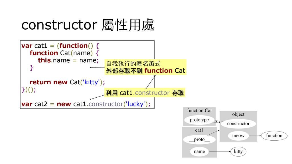 constructor 屬性⽤用處 var cat1 = (function() { func...