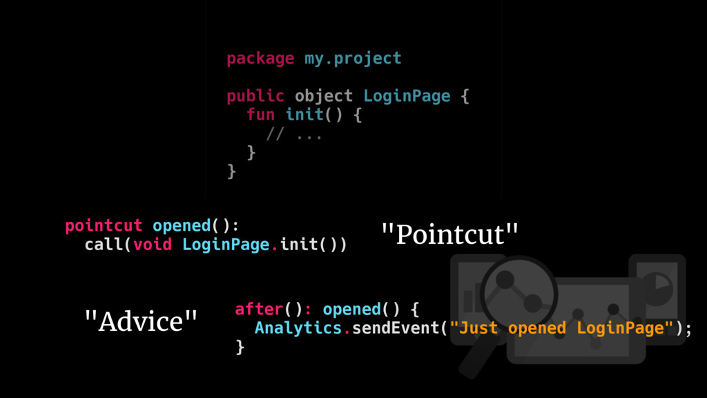 pointcut opened(): call(void LoginPage.init()) ...