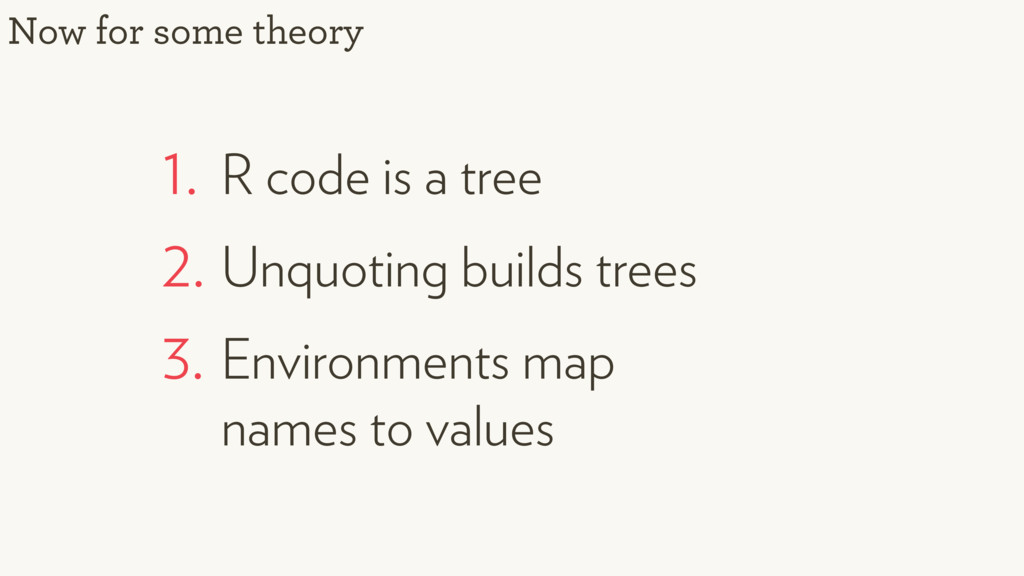 1. R code is a tree 2. Unquoting builds trees 3...