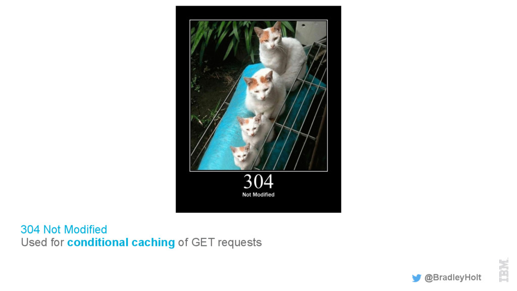 304 Not Modified Used for conditional caching o...