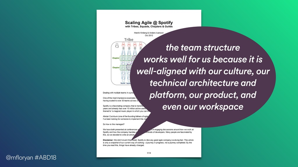 the team structure works well for us because it...