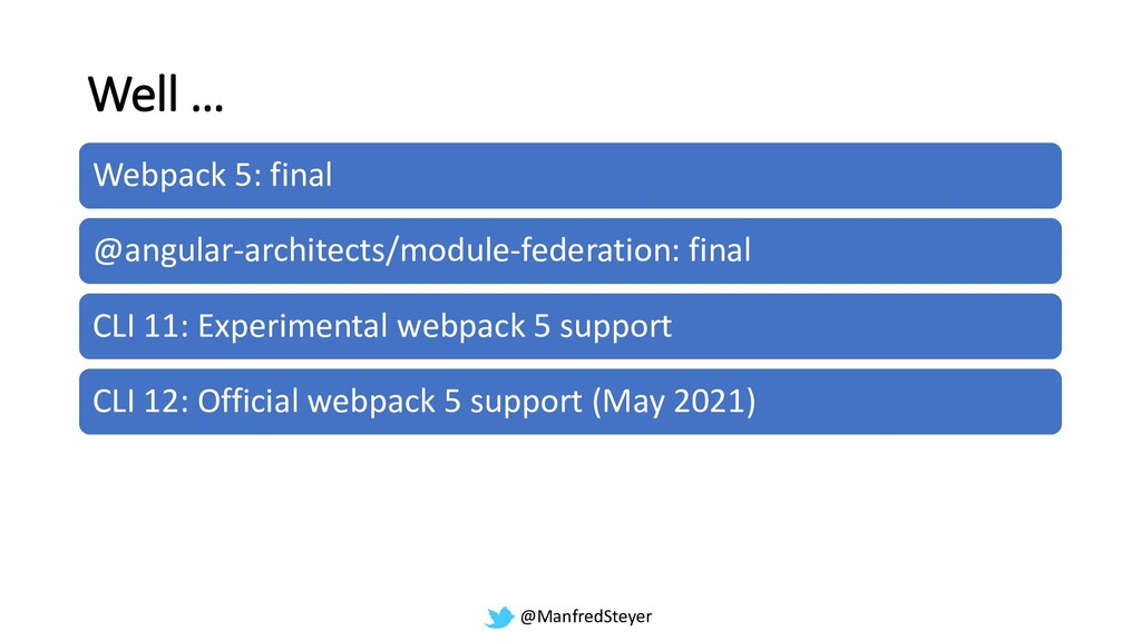 @ManfredSteyer Well … Webpack 5: final @angular...