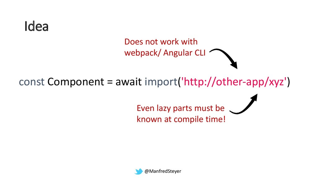 @ManfredSteyer Idea const Component = await imp...