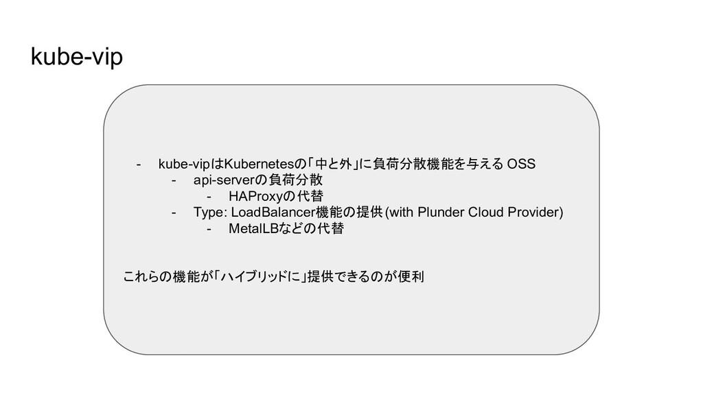 kube-vip - kube-vipはKubernetesの「中と外」に負荷分散機能を与える...