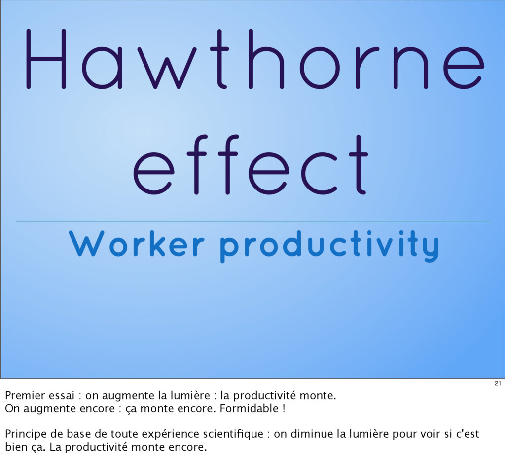 Hawthorne effect Worker productivity 21 Premier...