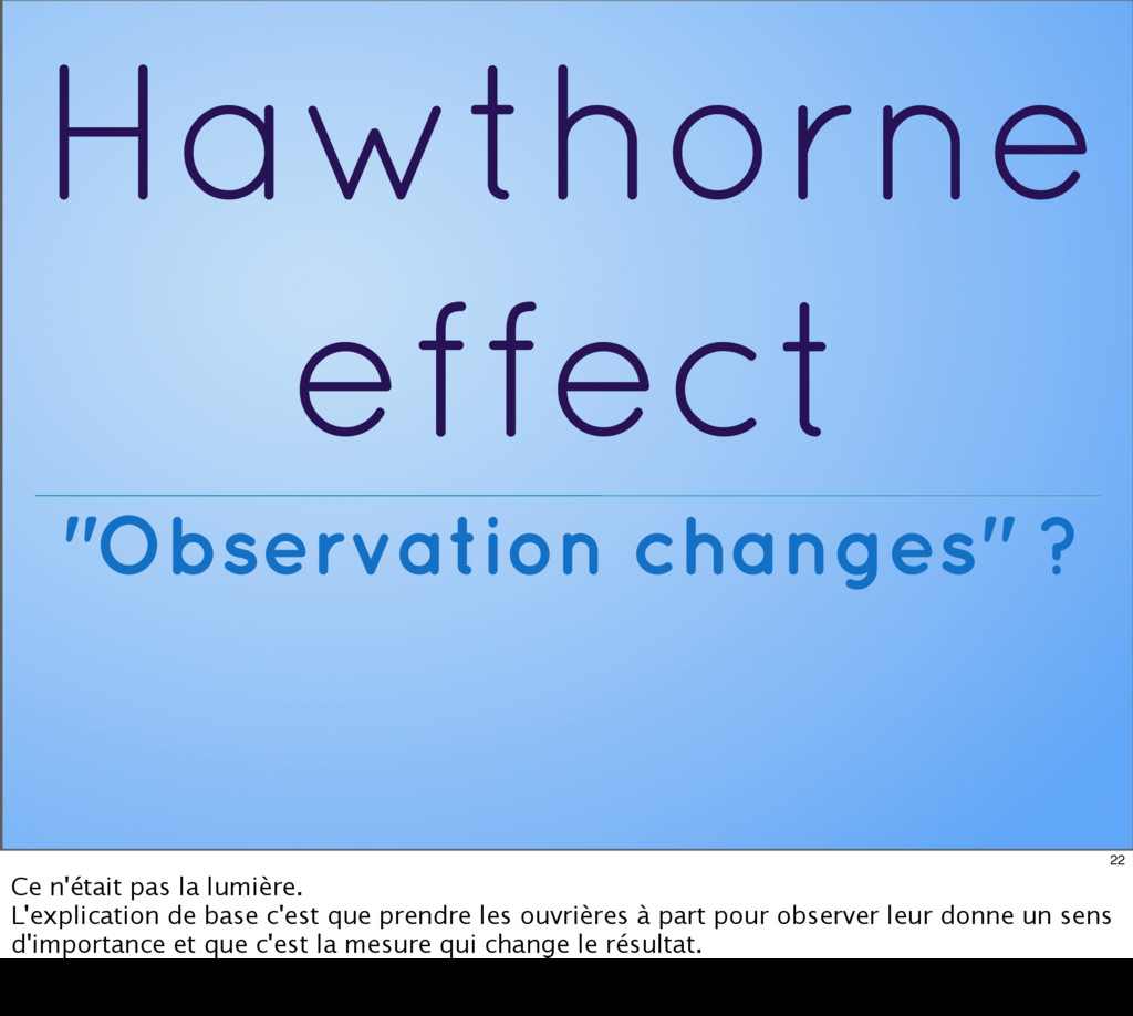 "Hawthorne effect ""Observation changes"" ? 22 Ce ..."