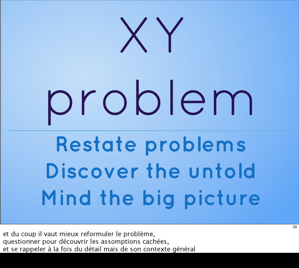 XY problem Restate problems Discover the untold...