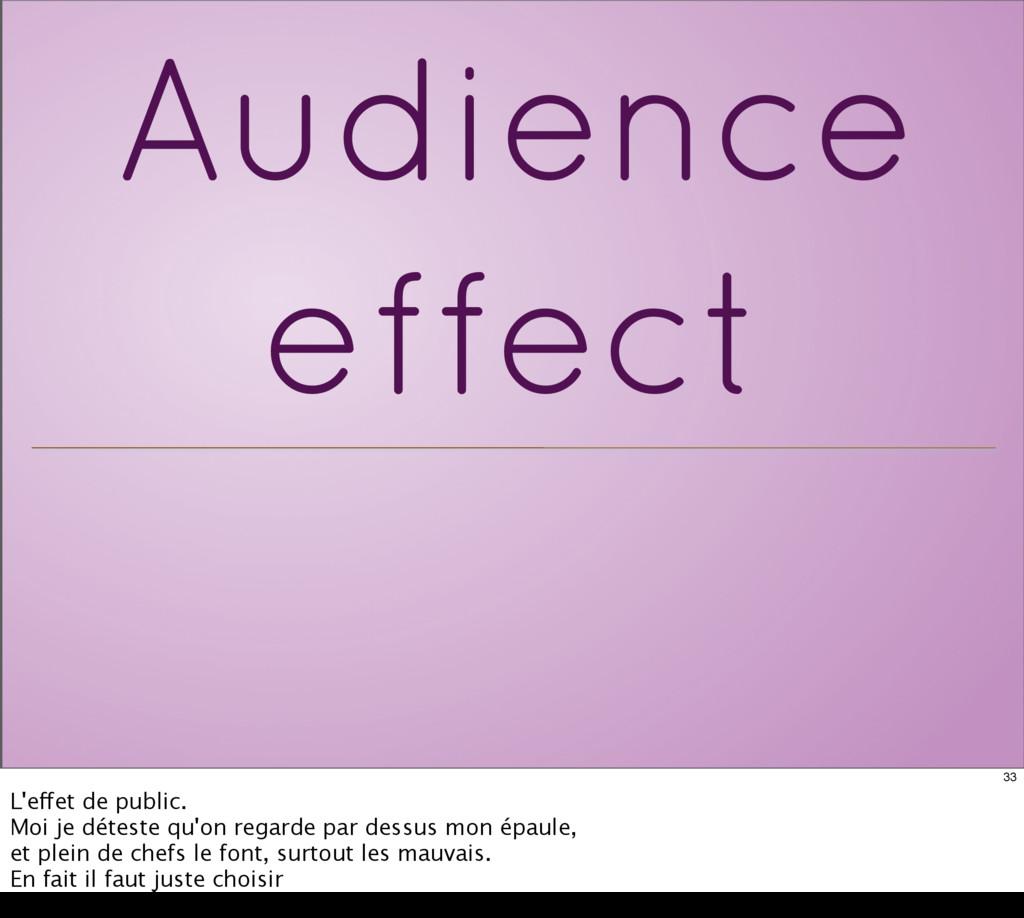 Audience effect 33 L'effet de public. Moi je dé...