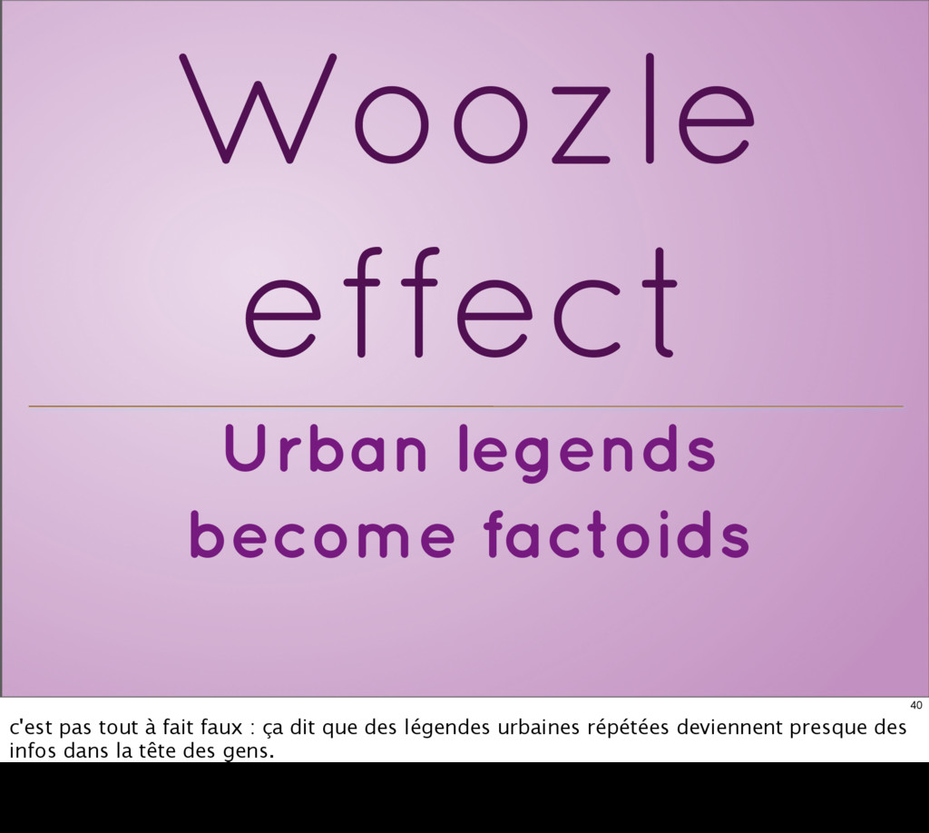 Urban legends become factoids Woozle effect 40 ...