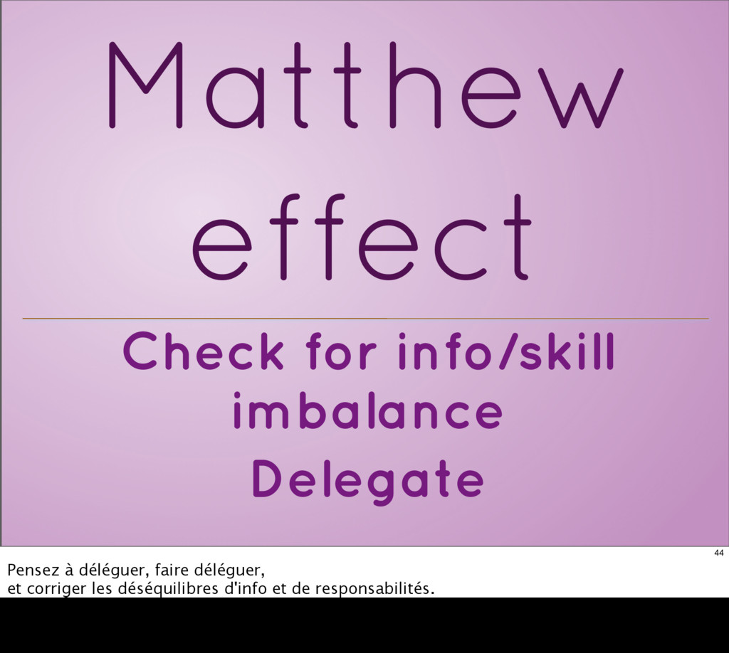 Check for info/skill imbalance Delegate Matthew...