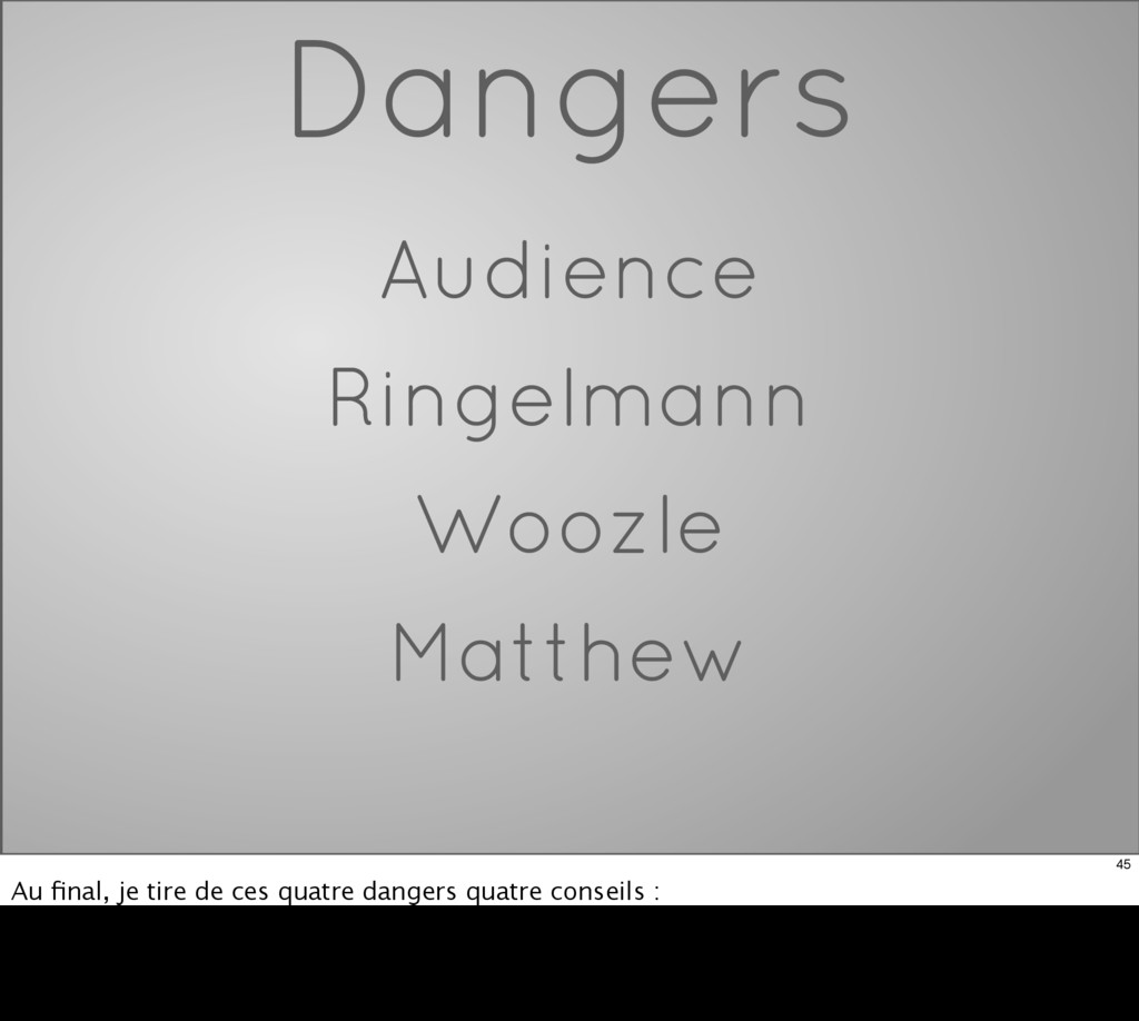 Dangers Audience Ringelmann Woozle Matthew 45 A...