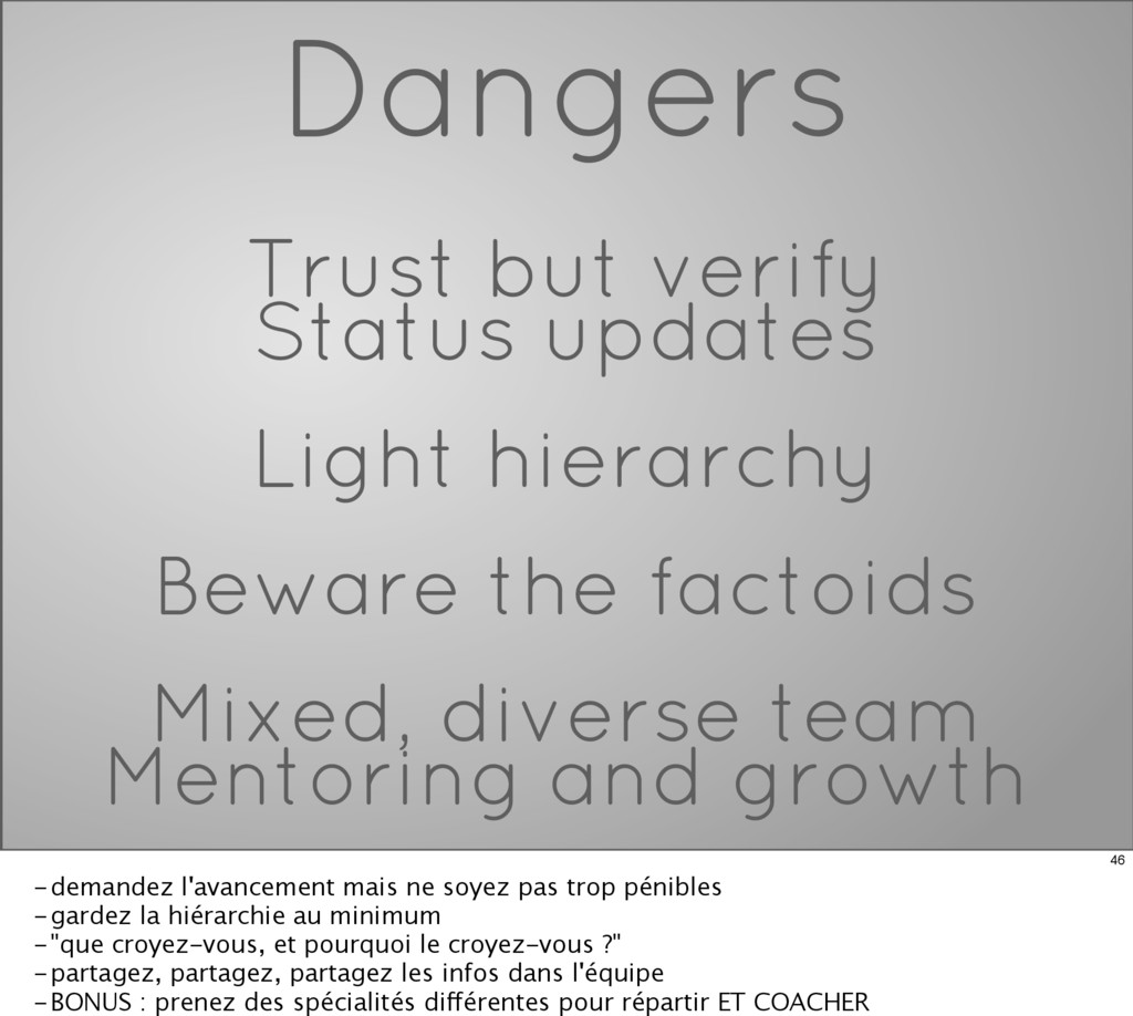 Dangers Trust but verify Status updates Light h...
