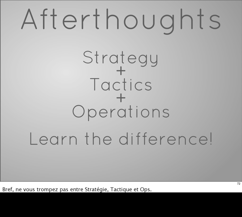 Afterthoughts Strategy + Tactics + Operations L...