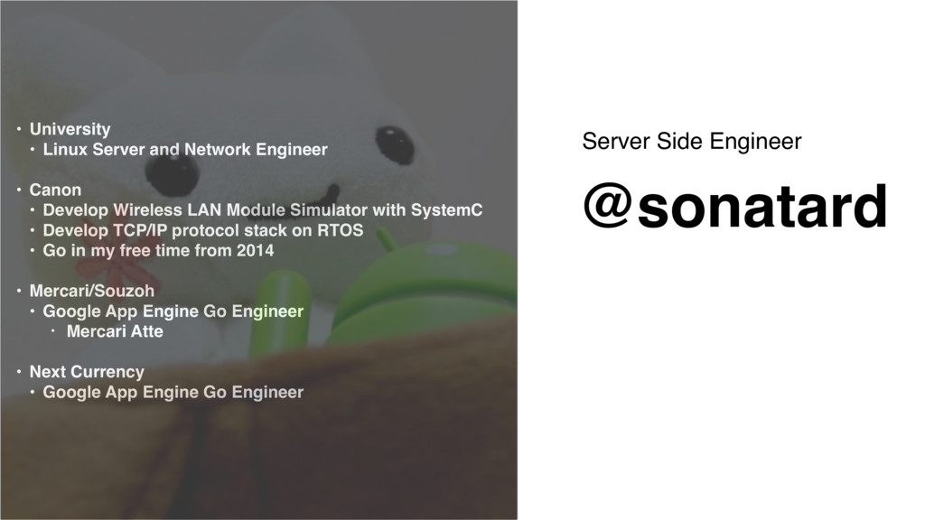 Server Side Engineer @sonatard • University • L...