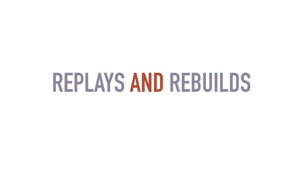 REPLAYS AND REBUILDS