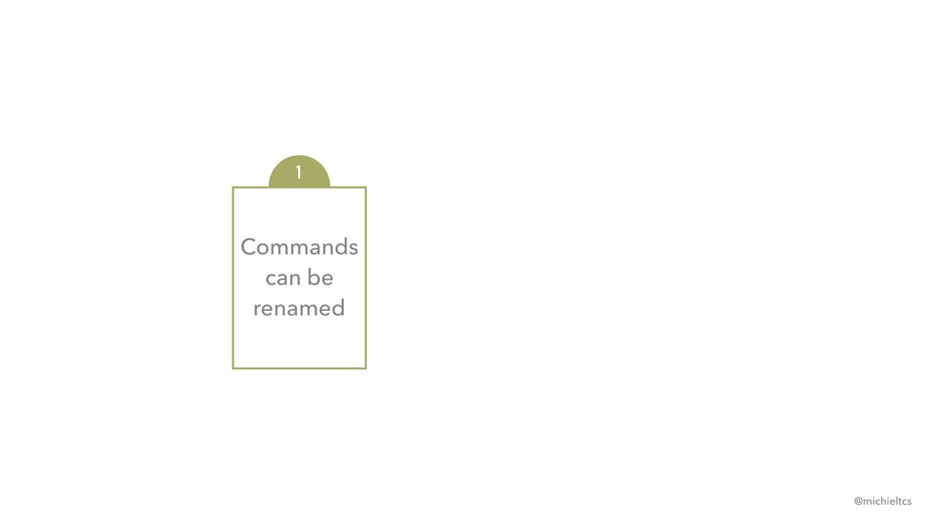Commands can be renamed 1 @michieltcs
