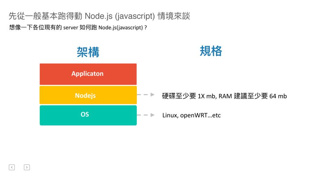 先從⼀一般基本跑得動 Node.js (javascript) 情境來來談 Nodejs OS...