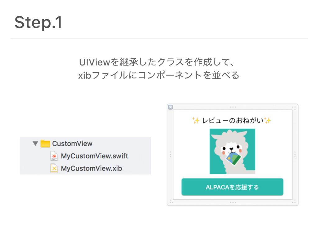 Step.1 UIViewΛܧঝͨ͠ΫϥεΛ࡞ͯ͠ɺ xibϑΝΠϧʹίϯϙʔωϯτΛฒΔ