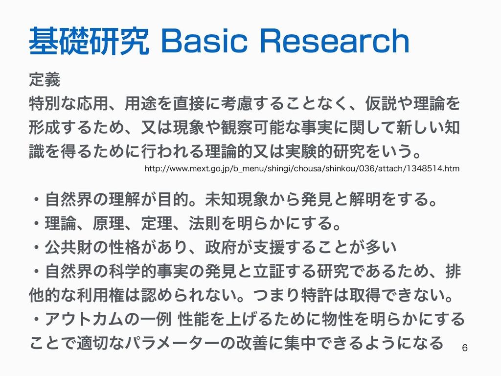 基礎研究 Basic Research ఆٛ ಛผͳԠ༻ɺ༻్Λʹߟྀ͢Δ͜ͱͳ...