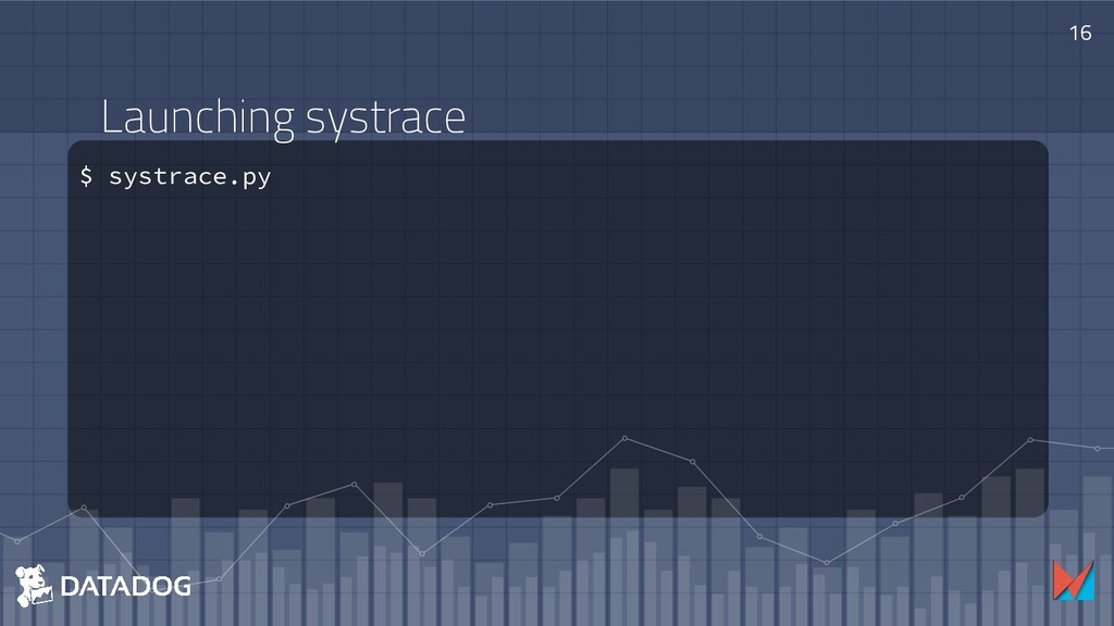 Launching systrace $ systrace.py 16