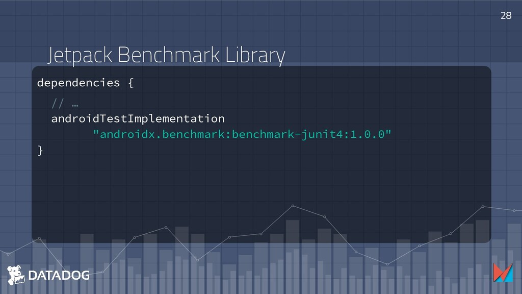 Jetpack Benchmark Library dependencies { // … a...
