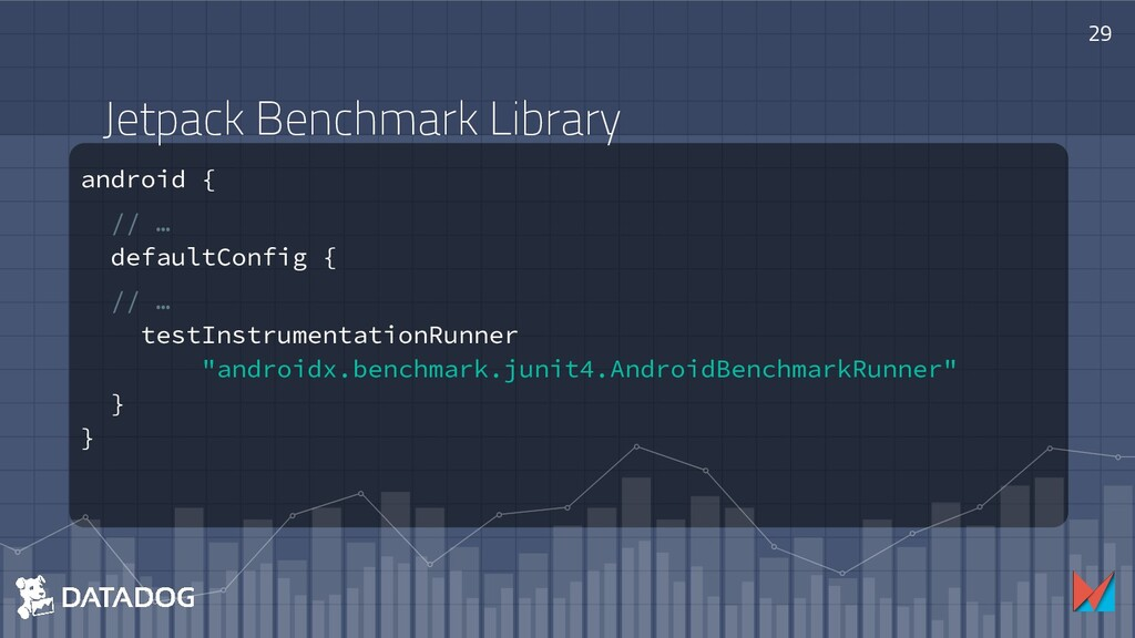 Jetpack Benchmark Library android { // … defaul...