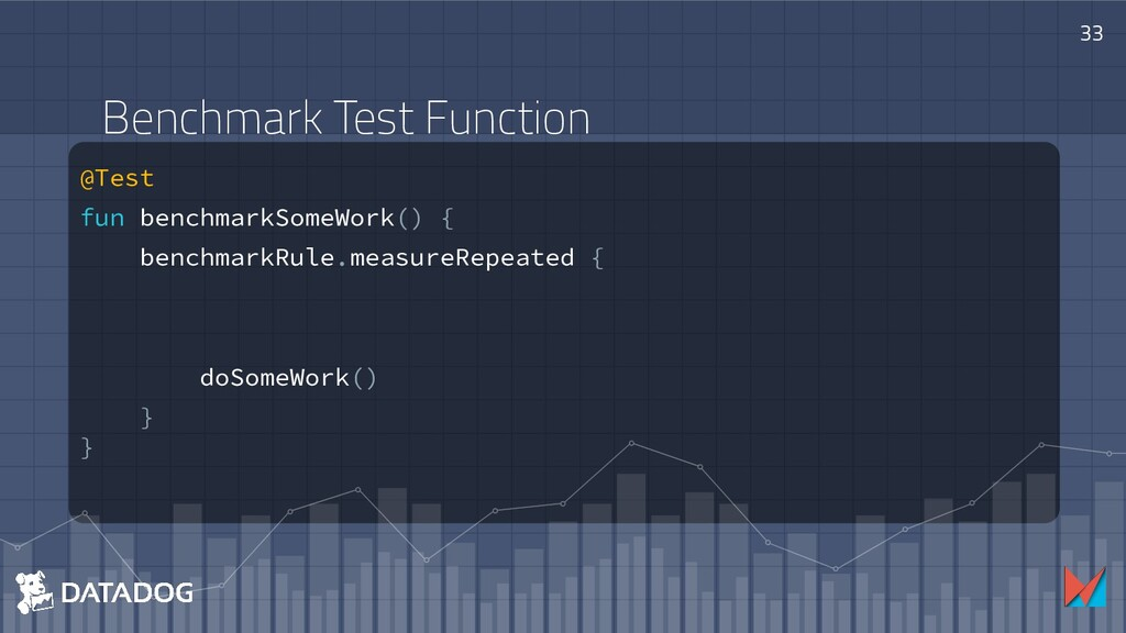 @Test fun benchmarkSomeWork() { benchmarkRule.m...