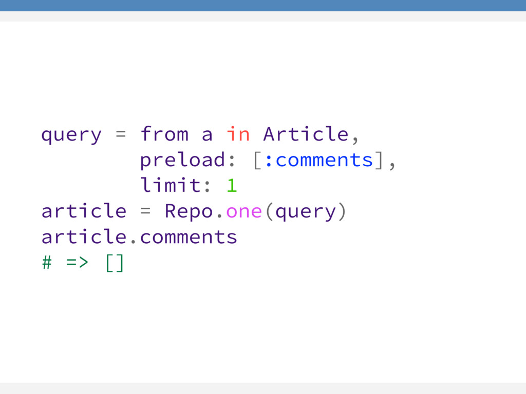 query = from a in Article, preload: [:comments]...