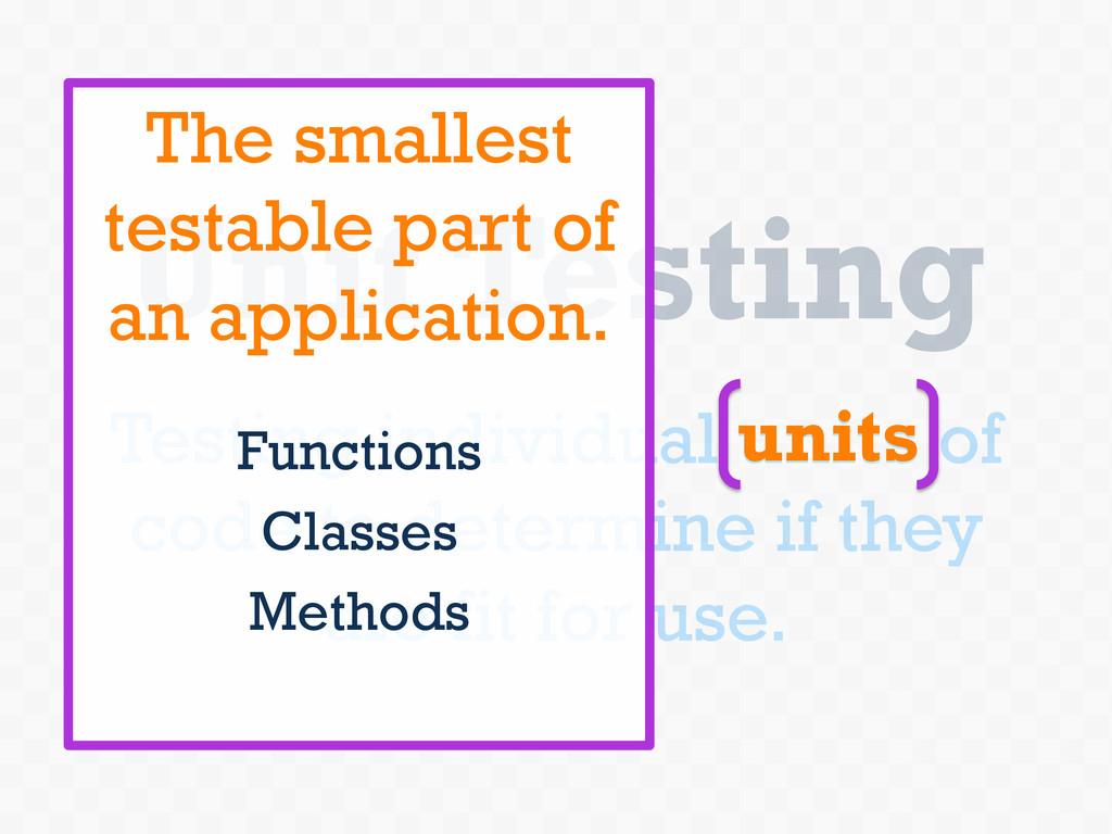 Unit Testing Testing individual units of code t...