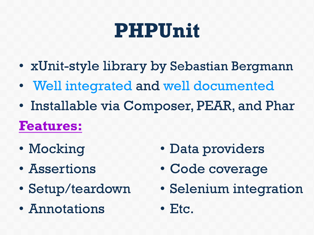PHPUnit • xUnit-style library by Sebastian Ber...