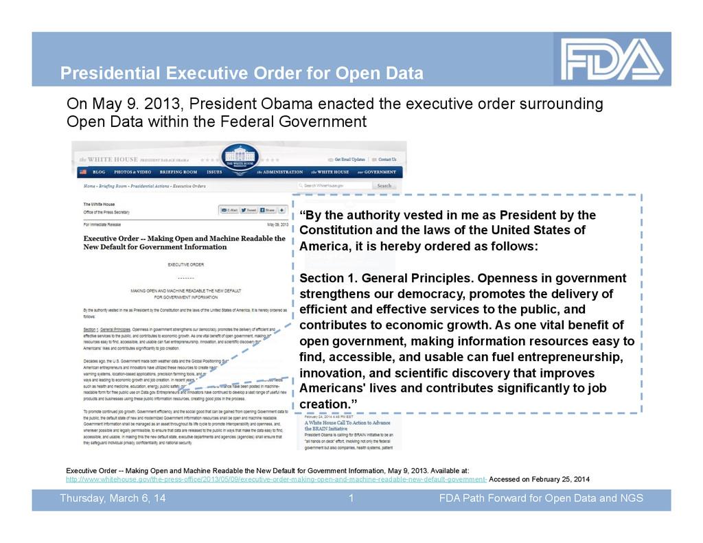 Thursday, March 6, 14 Presidential Executive Or...