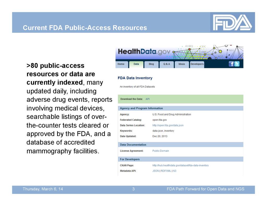 Thursday, March 6, 14 Current FDA Public-Access...