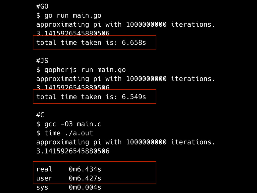 #GO $ go run main.go approximating pi with 1000...