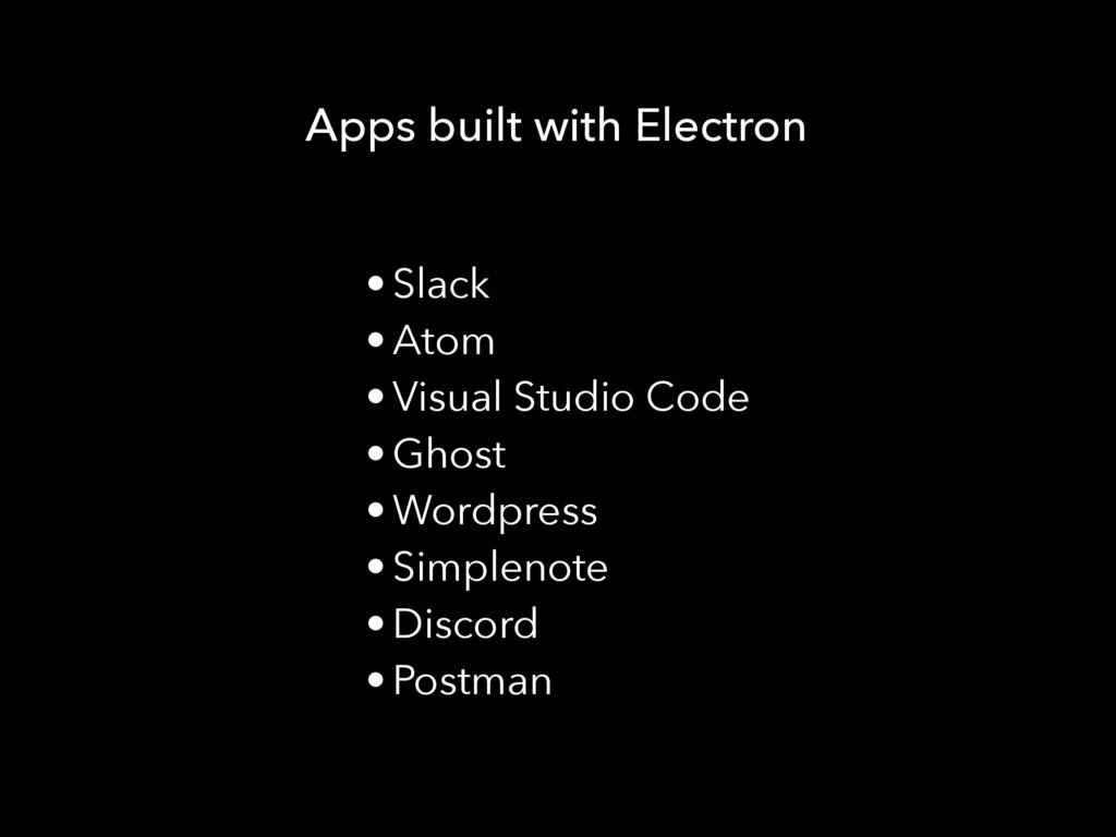 Apps built with Electron • Slack • Atom • Visua...