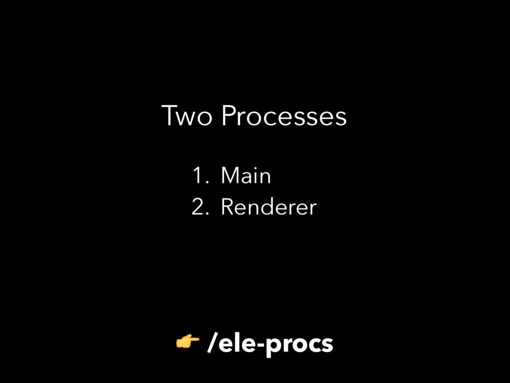 Two Processes 1. Main 2. Renderer  /ele-procs