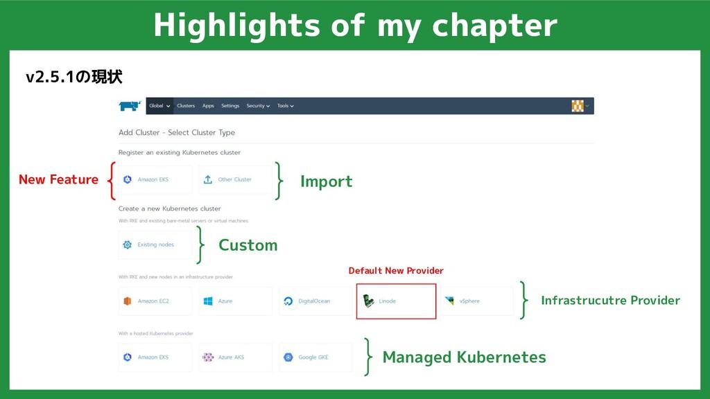 Highlights of my chapter v2.5.1の現状 Custom Infra...