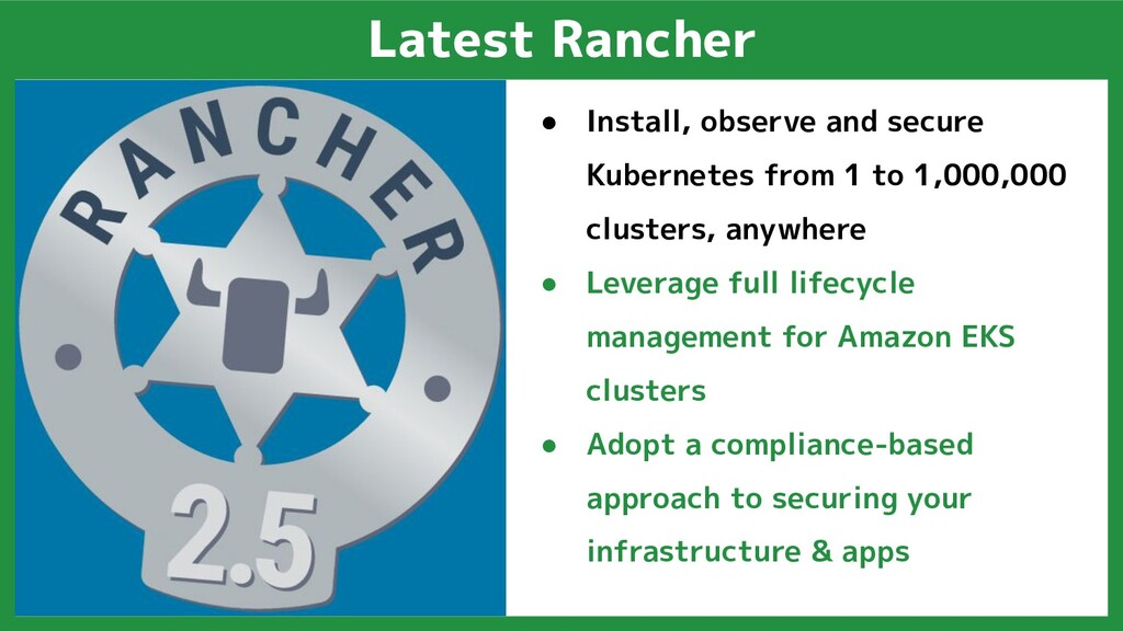 Latest Rancher ● Install, observe and secure Ku...
