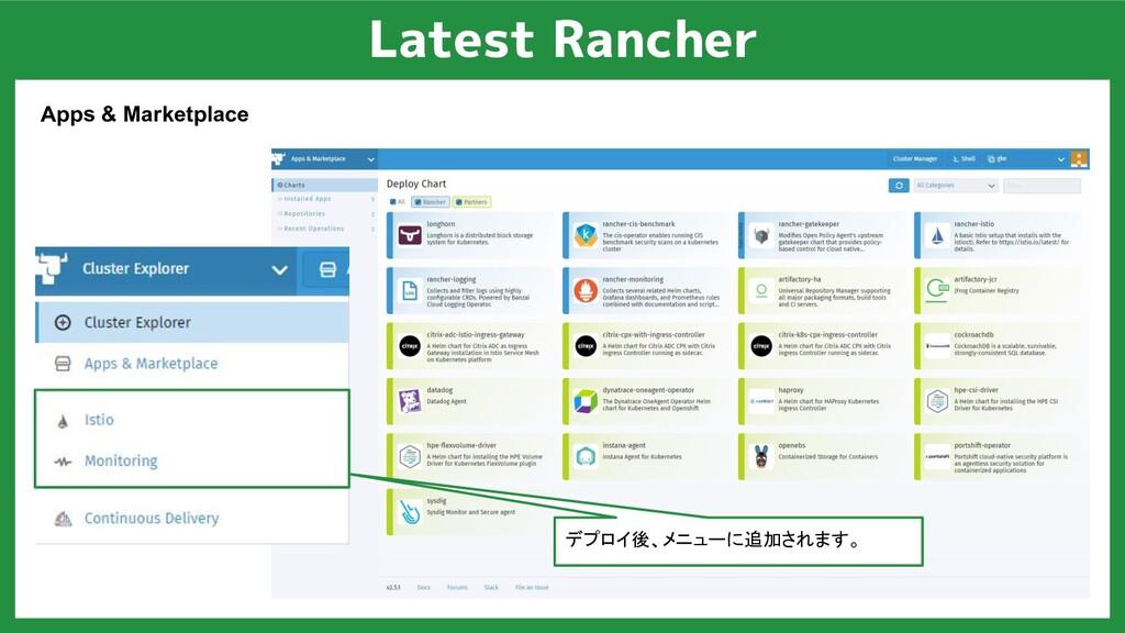 Latest Rancher Apps & Marketplace デプロイ後、メニューに追加...