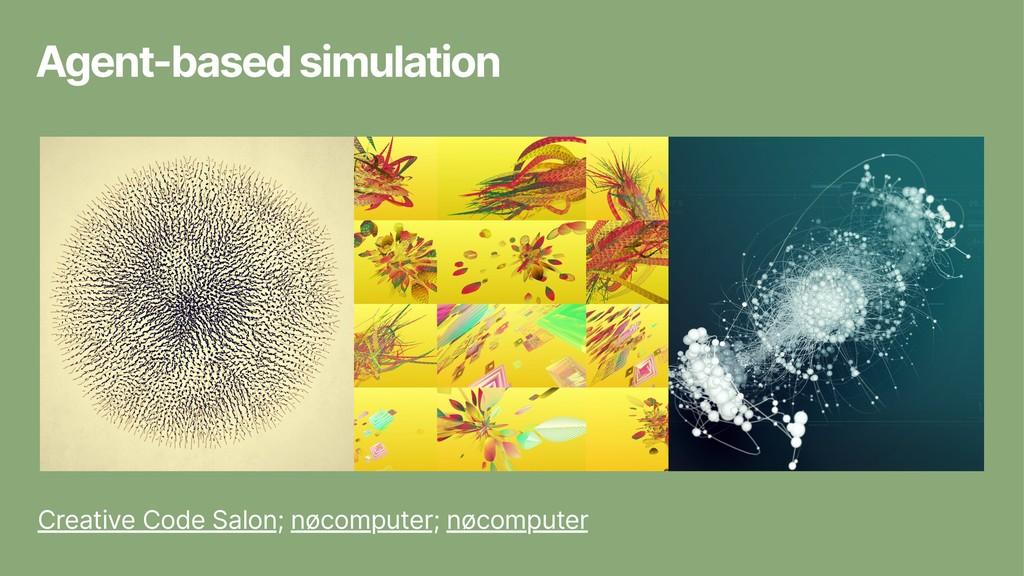Agent-based simulation Creative Code Salon; nøc...