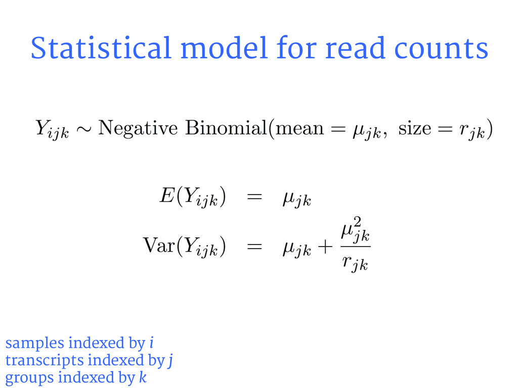 Statistical model for read counts samples index...