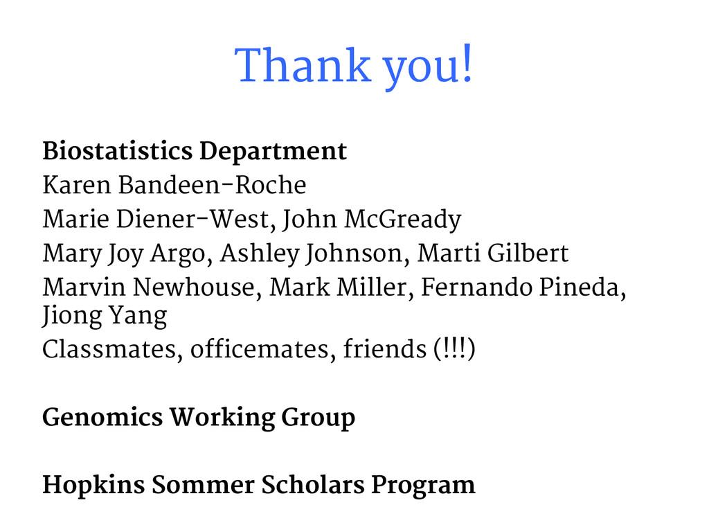 Thank you! Biostatistics Department Karen Bande...