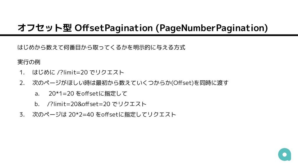 オフセット型 OffsetPagination (PageNumberPagination) は...