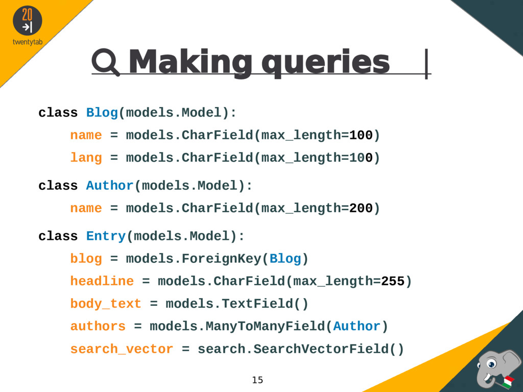  Making queries | class Blog(models.Model): na...
