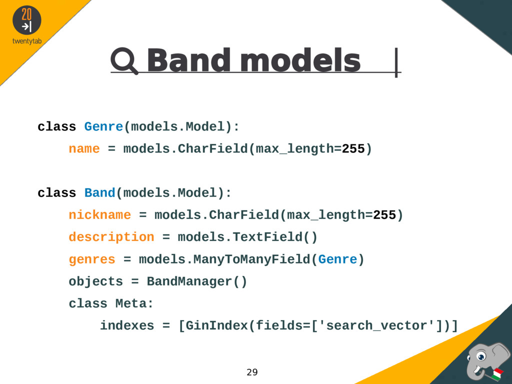  Band models | class Genre(models.Model): name...