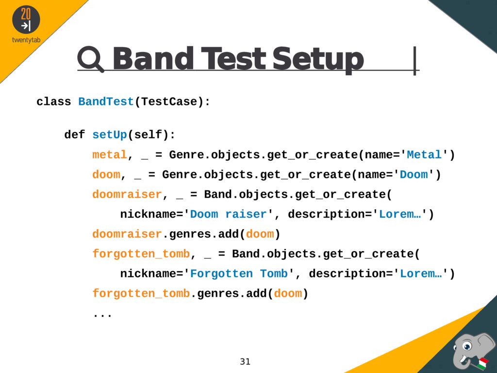  Band Test Setup | class BandTest(TestCase): d...